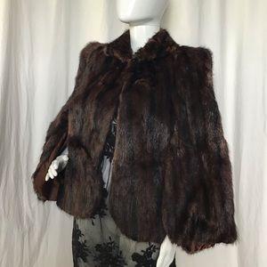 Vintage Genuine Mink Fur Stole Cape Shawl Coat